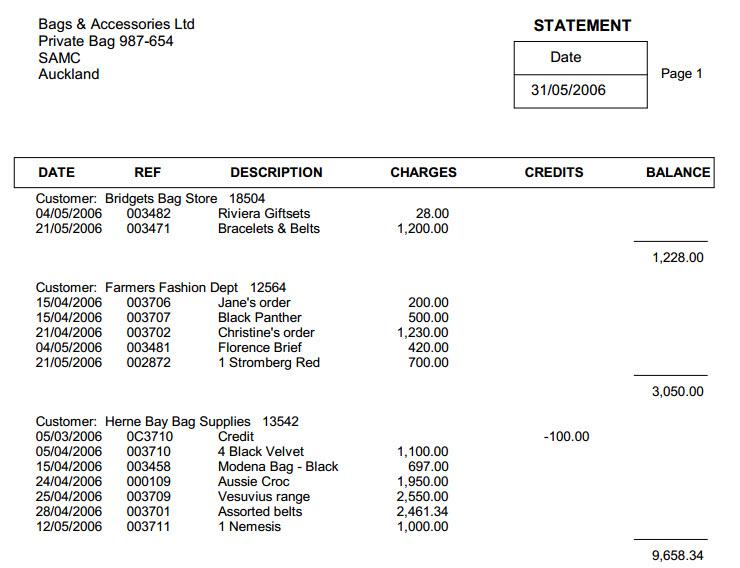 MYOB Add On Programs - Open invoice statement