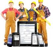 tradesmen with devices